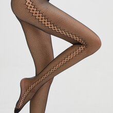 Hollow Out Geometric Fishnet Tights