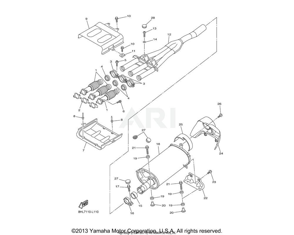 Yamaha OEM 8GL-14714-00-00 GASKET, MUFFLER