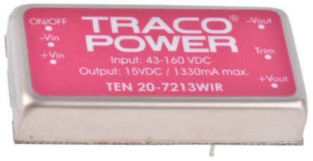 TRACOPOWER TEN 20WIR 20W Isolated DC-DC Converter Through Hole, Voltage in 43 → 160 V dc, Voltage out 15V dc