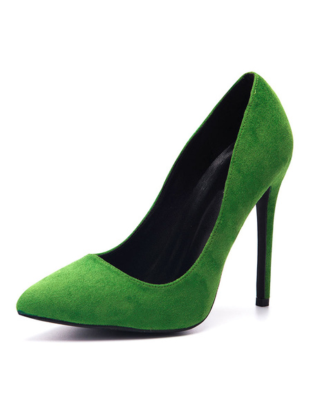 Milanoo Women's Gray High heels Pointed Toe Plus Size Basic Pumps