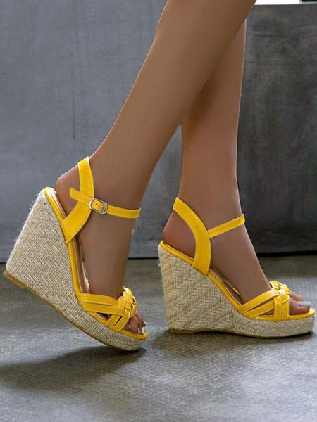 Milanoo Sandalias de cuña para mujer Preciosas sandalias de cuero de PU de punta redonda