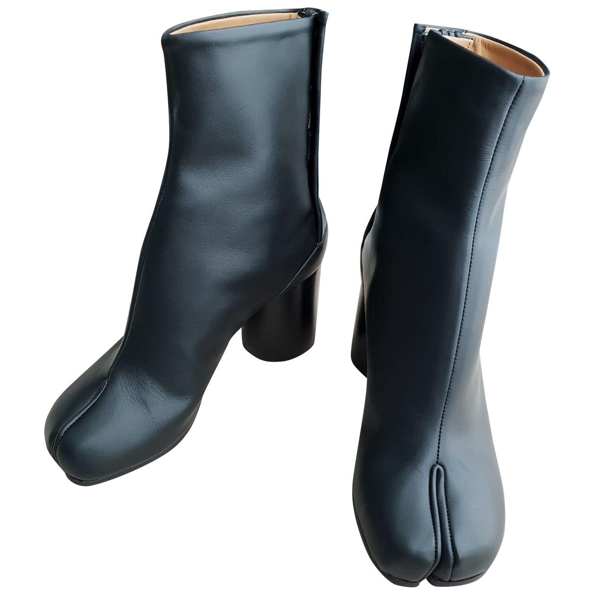 Maison Martin Margiela Tabi Black Leather Ankle boots for Women 35 EU