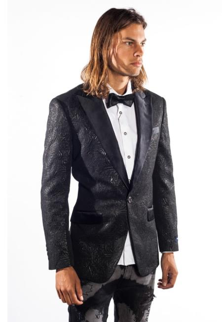 Mens 1 Button Sequin Flashy Paisley Jacket Sport Coat Tuxedo Charcoal