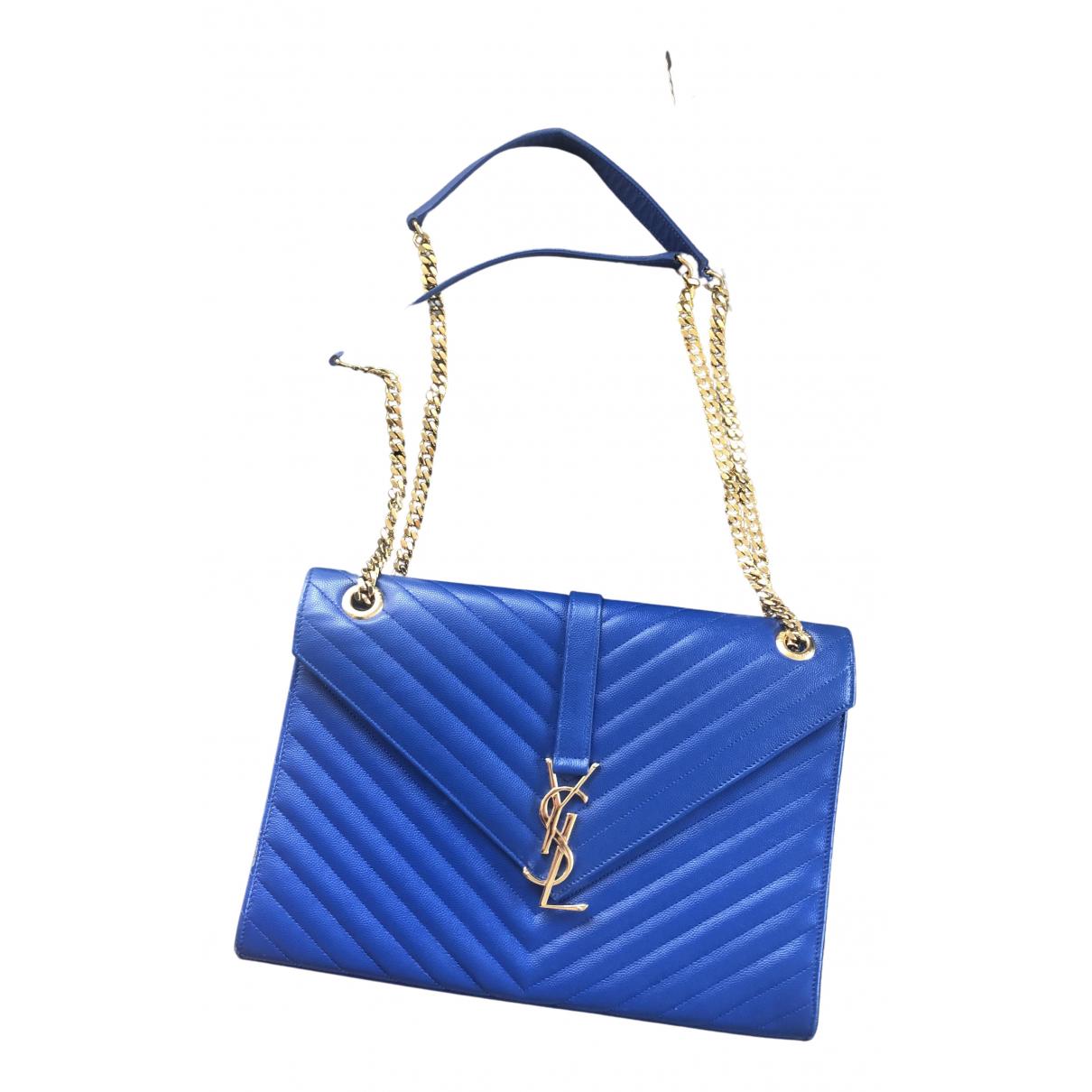 Saint Laurent Satchel monogramme Blue Leather handbag for Women N