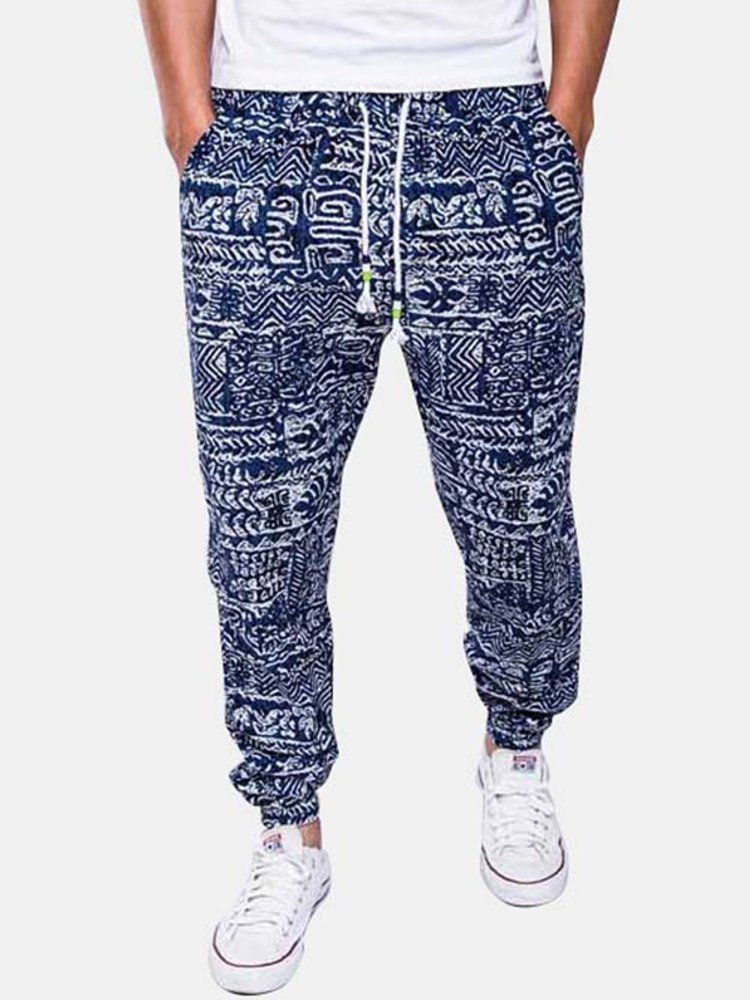 Mens Ethnic Style Printed Baggy Cotton Linen Harem Pants Wide Leg Trousers Casual Pant