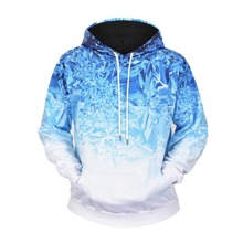 Men Abstract Print Ombre Hoodie