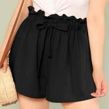 Ubergrosse Shorts mit Papiertasche Taille