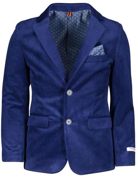 Boys ~ Children ~ Kids Velvet Velour Blazers Sport Coat Jacket Cobalt