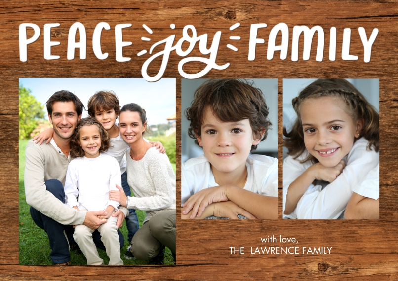 Christmas Photo Cards Flat Matte Photo Paper Cards with Envelopes, 5x7, Card & Stationery -Christmas Peace Script Joy by Tumbalina