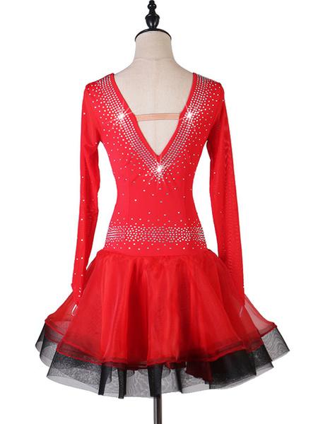 Milanoo Disfraz Halloween Traje de baile latino Rhinestone Ruffle Lycra Spandex Vestido Traje de baile de bailarina latina Halloween