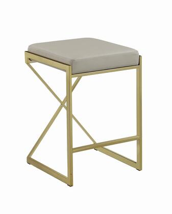 182567 25 Counter Height Stool with Leatherette Upholstered Seat  Metal Frame  Armless and Backless Design in Taupe and Sunny