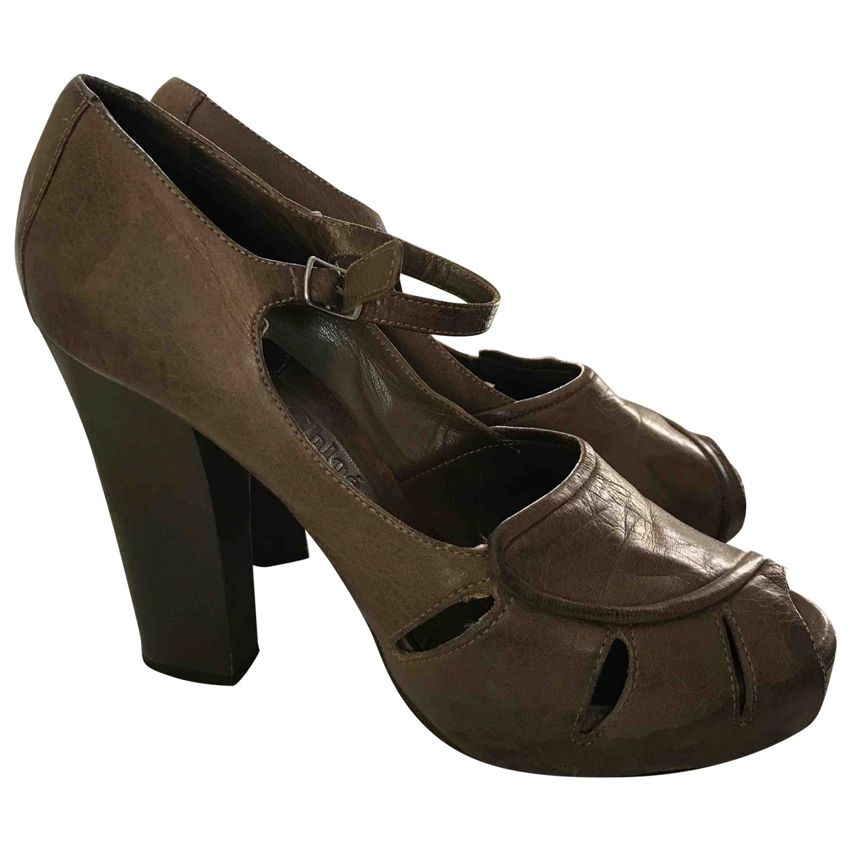 Chloe - Escarpins   pour femme en cuir - marron