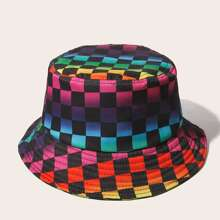 Ombre Plaid Pattern Bucket Hat