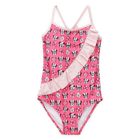 Disney Collection Little & Big Girls Minnie Mouse One Piece Swimsuit, 2 , Pink