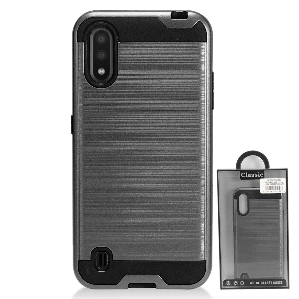 Insten Hard Hybrid Brushed TPU Cover Case For Samsung Galaxy A01 - Gray/Black (Grey)