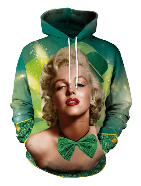 Milanoo St Patricks Day Hoodie Top Clover Audrey Hepburn Printed Irish Unisex Hooded Pullover Sweatshirt Halloween