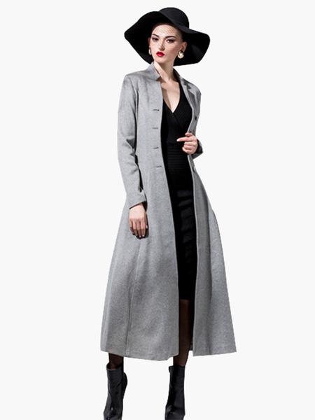 Milanoo abrigo mujer con manga larga con escote Ilusion de mezclada de lana Color liso Moda Mujer con pliegue estilo moderno Invierno Chaquetas