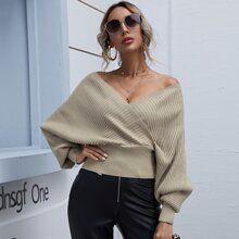 Surplice Front Batwing Sleeve Sweater