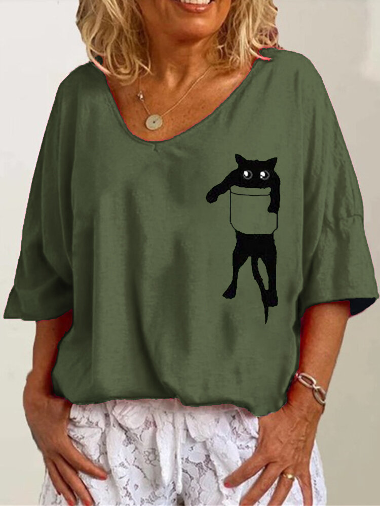Cartoon Cat Print 3/4 Sleeve V-neck Casual Loose Blouse For Women