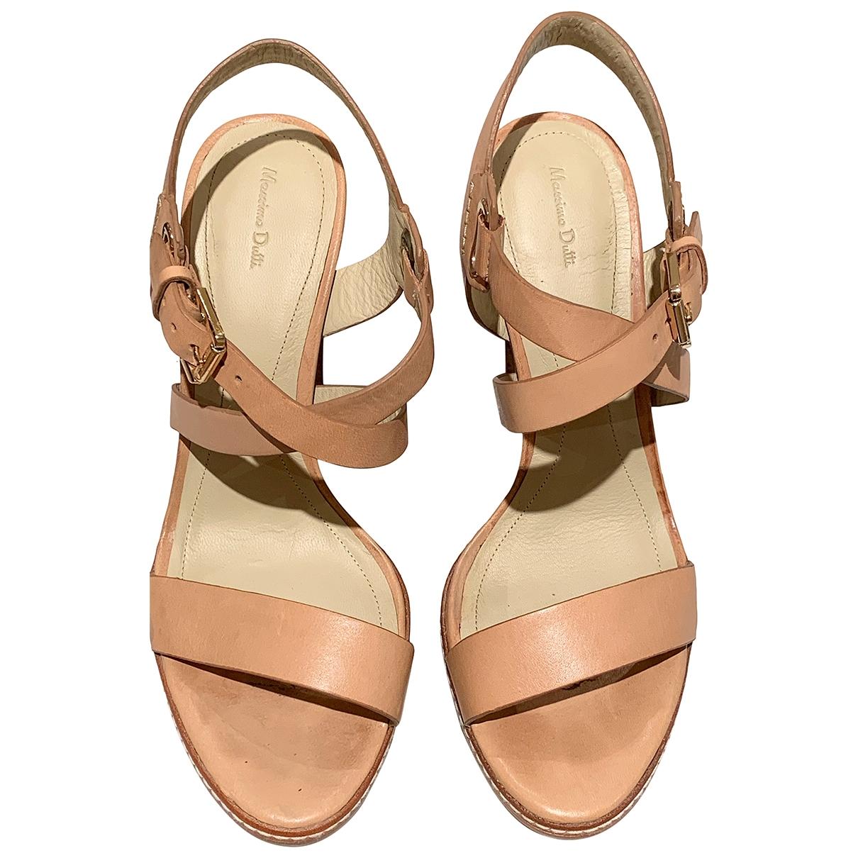 Massimo Dutti - Sandales   pour femme en cuir - beige