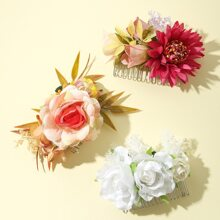 3pcs Flower Decor Hair Comb