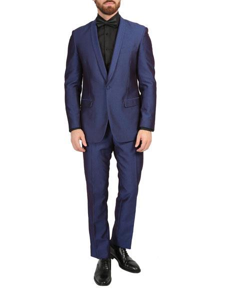 Shawl Collar Slim Fitted Mens Blazer Dinner Jacket Navy