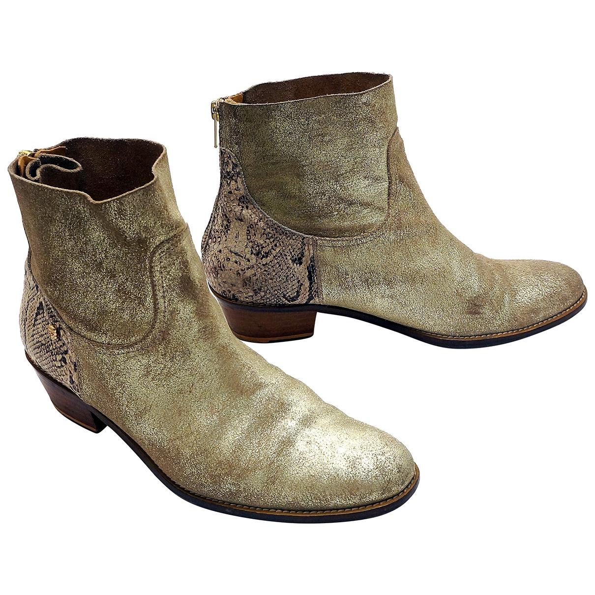 Zadig & Voltaire - Boots   pour femme en cuir - dore
