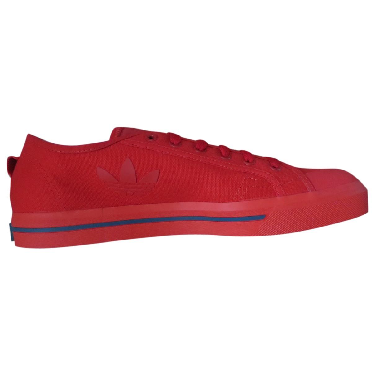 Adidas X Raf Simons Spirit Sneakers in  Rot Leinen