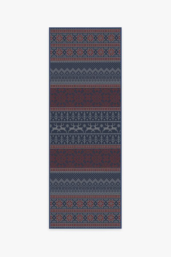 Washable Rug Cover | Fair Isle Red Rug | Stain-Resistant | Ruggable | 2.5'x7'
