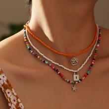 Halskette mit Stern & Verschluss Anhaenger