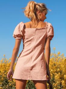 Schiffy Frill Trim Tie Front Puff Sleeve Split Dress