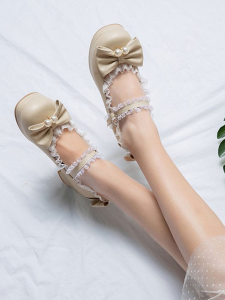 Milanoo Sweet Lolita Pumps Pink Bows Lace Round Toe PU Leather Lolita Shoes