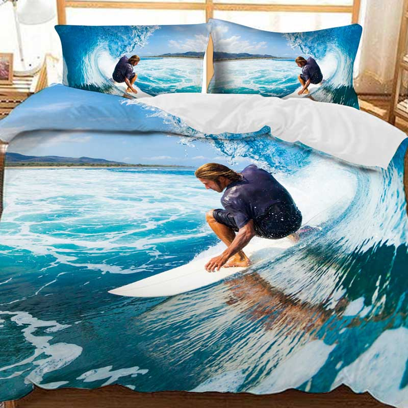 The Man Surfing On The Blue Sea Printed Polyester 3-Piece Bedding Sets/Duvet Covers