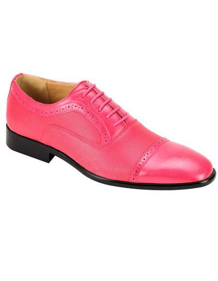 Men's Stylish Cap Toe Fuchsia Casual Dress Shoes