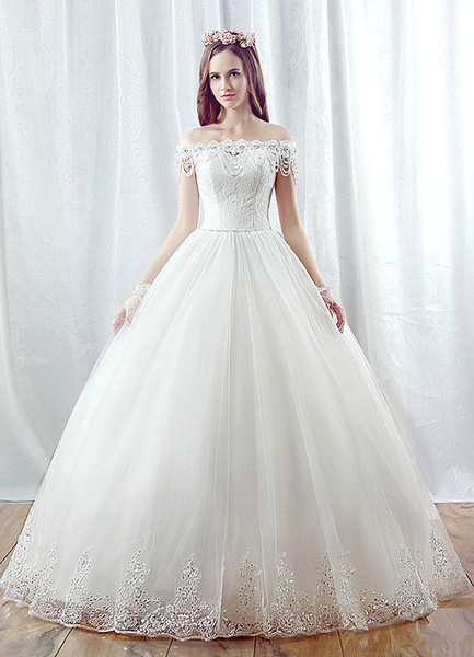 Milanoo Lace Wedding Dress Ball Gown Maxi Bridal Dress Off The Shoulder Backless Beading Tiered Chains White Princess Bridal Gown