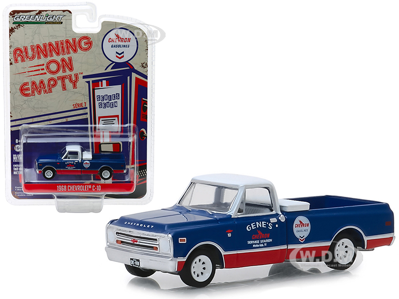 1968 Chevrolet C-10 Chevron Pickup Truck Blue and Red with White Top Running on Empty Series 7 1/64 Diecast Model Car by Greenlight