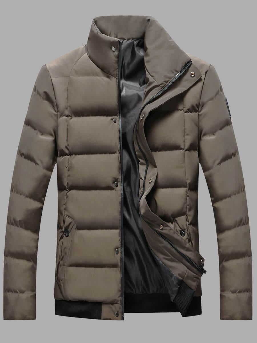 LW Lovely Stylish Mandarin Collar Zipper Design Brown Cottonpadded Clothe