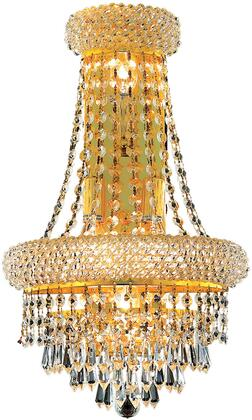 V1802W12SG/SA 1802 Primo Collection Wall Sconce D:12In H:18In E:7In Lt:4 Gold Finish (Spectra   Swarovski
