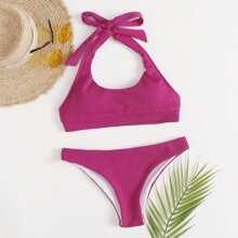 Gerippter Bikini Badeanzug mit Neckholder
