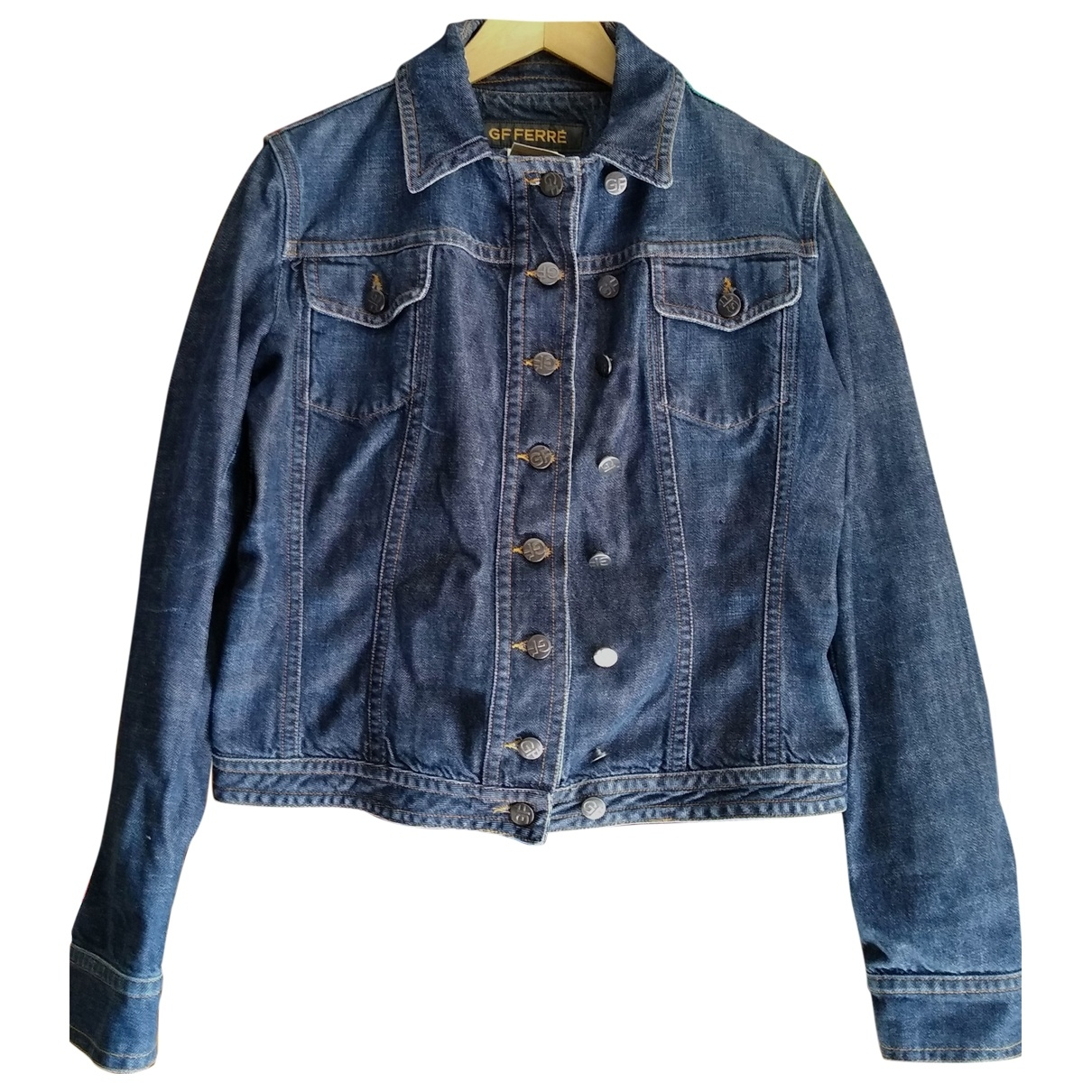 Gianfranco Ferré \N Blue Denim - Jeans Leather jacket for Women M International