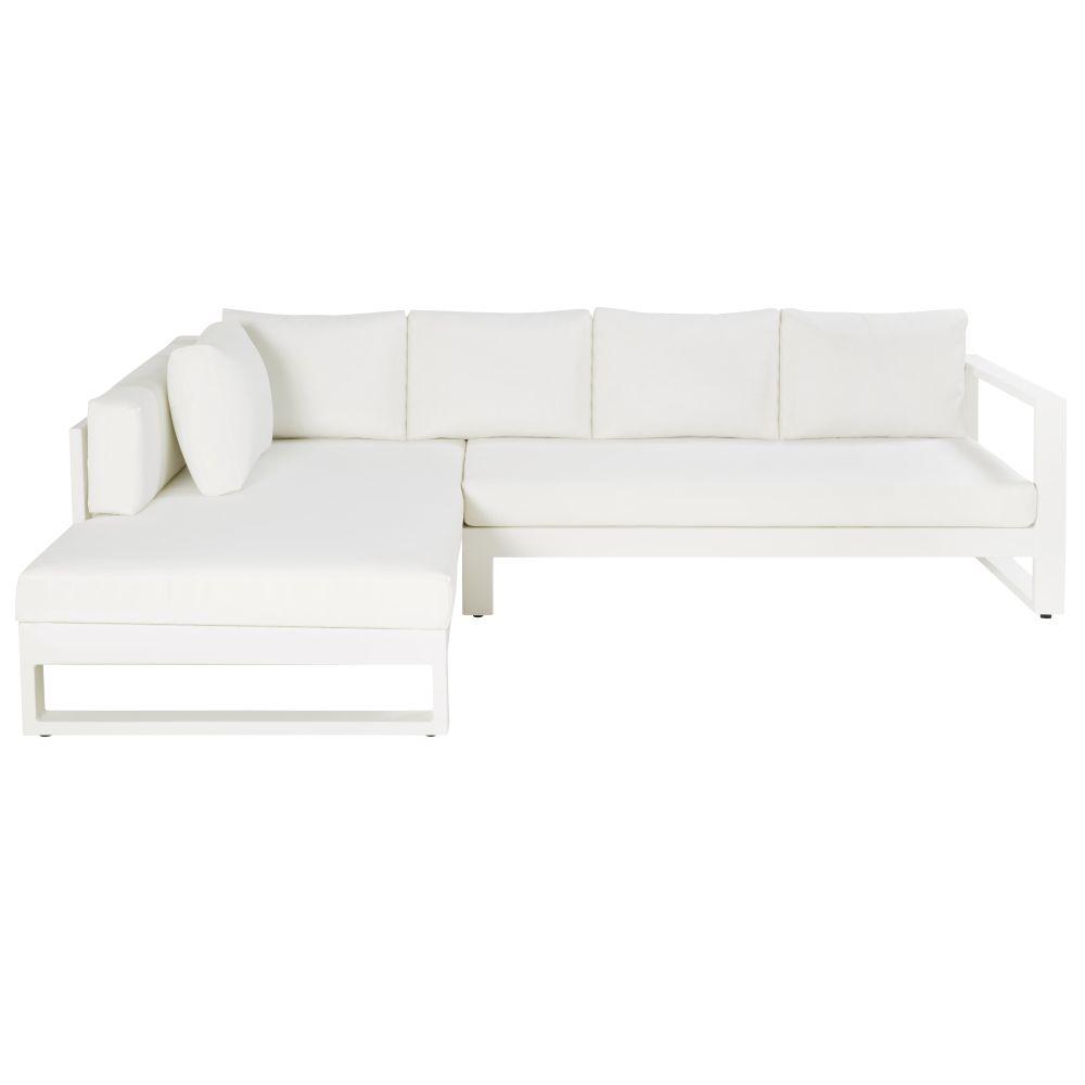 4/5-Sitzer-Gartenecksofa aus weissem Aluminium Thetis