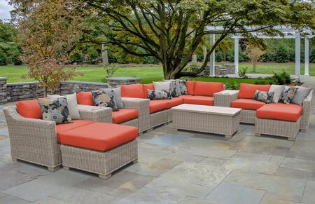 COAST-14a-TANGERINE Coast 14 Piece Outdoor Wicker Patio Furniture Set 14a with Beige and Tangerine