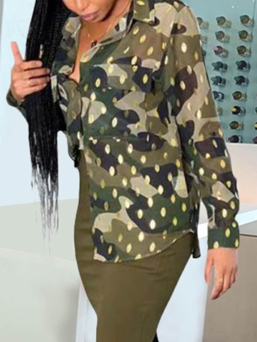 LW Lovely Formal Camo Print Sequined Army Green Blouse