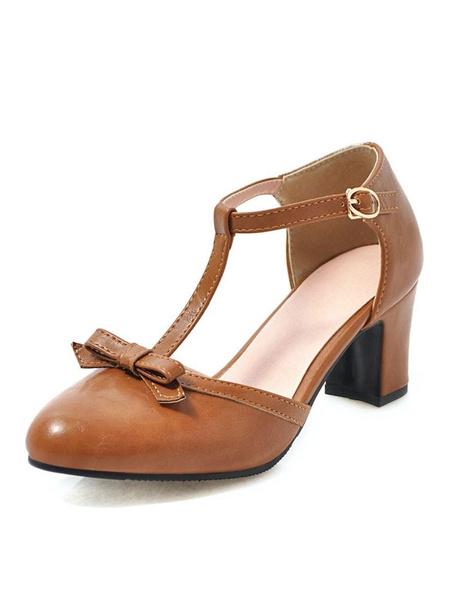 Milanoo Woman\'s Mid-Low Heels Retro Chunky Heel T-Type Bandage Stylish Heels