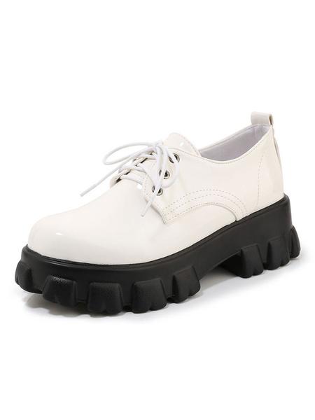 Milanoo Zapatos casuales de cuero planos de charol Oxfords con punta redonda