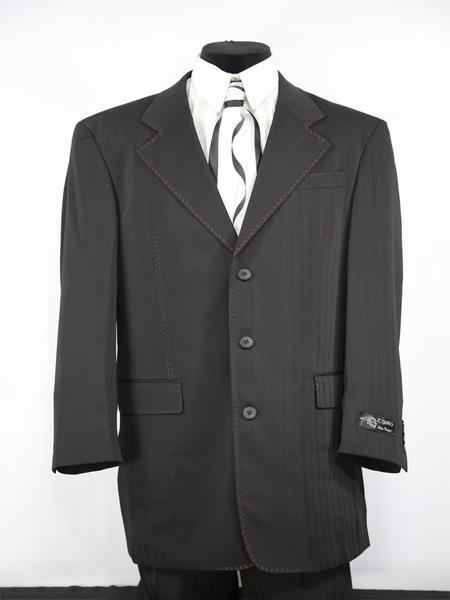 Mens Matte Stitched 2pc Zoot Suit Black