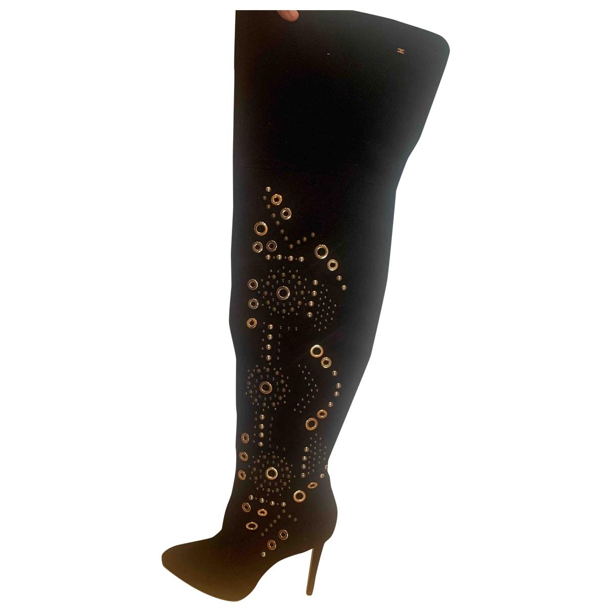 Elisabetta Franchi \N Black Leather Boots for Women 38 IT