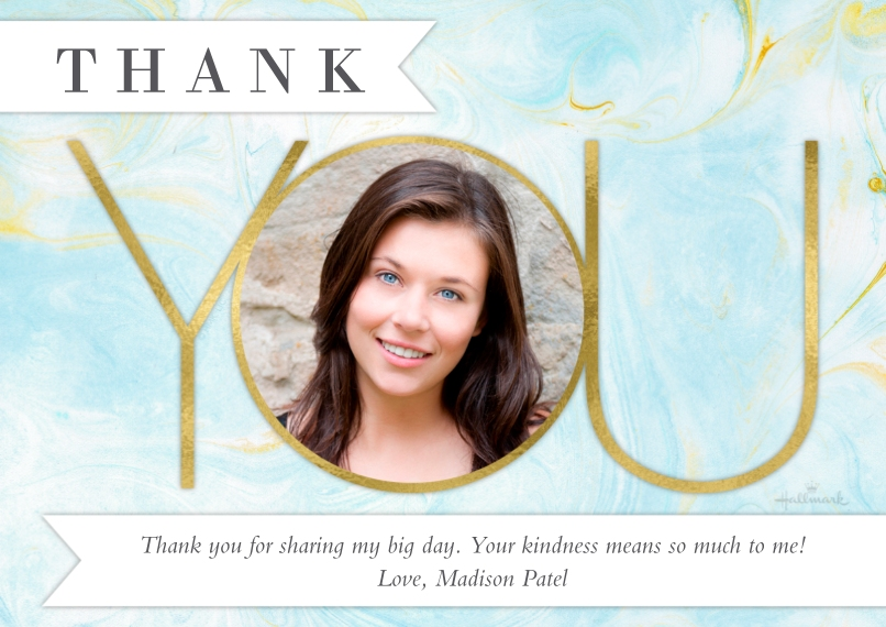 Graduation Thank You Cards 5x7 Cards, Premium Cardstock 120lb with Elegant Corners, Card & Stationery -Marble Pattern Thank You
