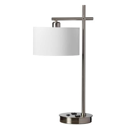 131T-SC 1 Light Table Lamp  Satin Chrome Finish  White Shade  1 Receptical  1 Usb