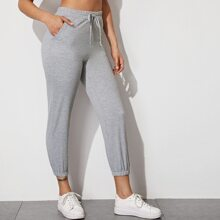 Solid Drawstring Waist Capris Sweatpants